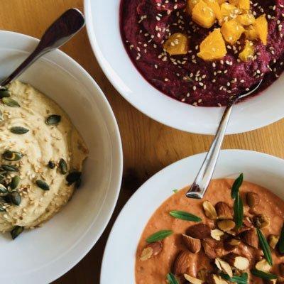 vegetarische catering, hummus drie soorten